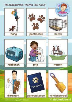 Woordkaarten thema 'de hond', kleuteridee, Kindergarten dog theme, free printable