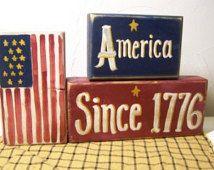 America Since 1776 Sign Patriotic Wood Blocks shelf sitter stacking