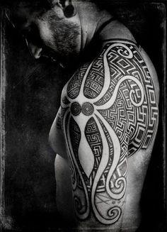 byzantine squid labyrinth tattoo