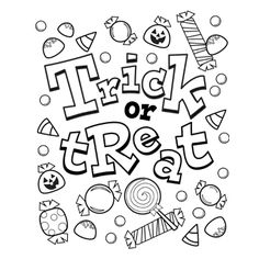 Halloween Candy Coloring Page   School, Pre-school and Halloween ...