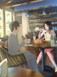 For the animation movie - Your Name. (Kimi no Na wa. After Story Mitsuha And Taki, Kimi No Na Wa Wallpaper, Your Name Wallpaper, Personajes Studio Ghibli, Your Name Anime, Film Anime, After Story, Anime Lindo, Film D'animation