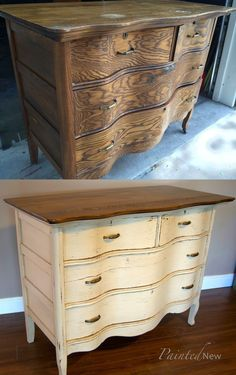 Furniture makeover: Antique dresser with Benjamin Moore Shaker Beige and Minwax walnut stain #shabbychicfurniture