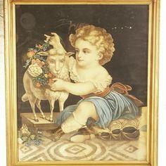 "$210""Girl with Lamb"" Original Framed Print 23""x27"""