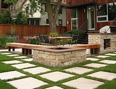 The pavers are 16 x 16 and will have grass or moss or some sort of perennial green stuff growing between them. Description from appletreestaging.blogspot.com. I searched for this on bing.com/images
