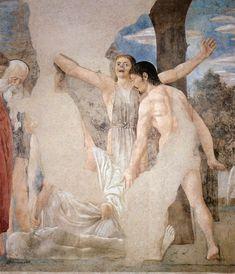 ❤ - PIERO DELLA FRANCESCA - (1415 - 1492) - The Death of Adam (detail). Fresco. 390 x 747 cm (full painting). San Francesco, Arezzo, Italy.