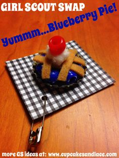 Blueberry Pie Girl Scout SWAP! or doll size pie! Make it with a bottlecap, beads, tan felt, cotton ball and red bead for a cherry on top!  #girlscout #swap #gs #blueberrypie #dollfood #mini #kidscrafts