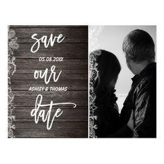 Typography Save the Date Wedding Invitation Custom Save the Date floral rustic wood typography Postcard