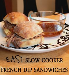 EASY Slow Cooker French Dip Sandwiches