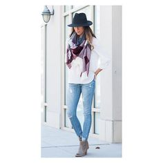 What's your signature style? We are falling for  this 'calm, cool, and ready to swoon' look. Pictured: ||Wide-brim fedora || Raw-edge burgundy plaid scarf || 365 Tunic in Ivory || Maggie Jeans || Callie Booties || (free shipping with code TIEDUP)