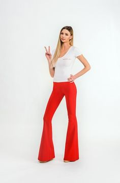 Brigitte Chillout Bell Bottoms by BOHOGINI. Red bell pants with elastic waistline and high waisted. Made with Love in Poland. Shop anywhere, ship everywhere - WORLDWIDE SHIPPING !!! WWW.BOHOGINI.COM