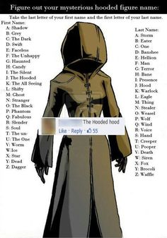 The Hooded Bane is mine. He's the new Moon Moon. Even though nobody can replace Moon Moon. Moon Moon, The Meta Picture, The Faceless, Funny Names, What Is Your Name, Know Your Meme, Kingdom Hearts, Looks Cool, Hoods