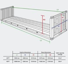 ISO Standard 40' Low Cube Shipping Container Drawing