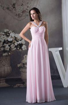 Baby Pink Modest A-line V-neck Backless Floor Length Bridesmaid Dresses - iFitDress.com