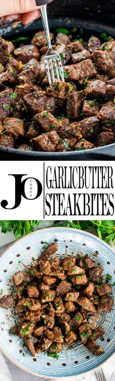 These seared Garlic Butter Steak Bites pack so much flavor and are so easy to th. These seared Garlic Butter Steak Bites pack so much flavor and are so easy to throw together! The best part? They're ready in 15 minutes! via Jo Cooks Low Carb Recipes, Cooking Recipes, Healthy Recipes, Yummy Recipes, Healthy Food, Beef Dishes, Food Dishes, Main Dishes, Garlic Butter Steak