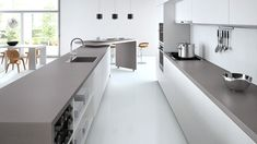 KITCHEN INSPO: Caesarstone Sleek Concrete Benchtop in 40mm with waterfall edge