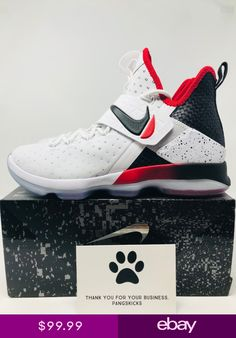 d2fb2557db13a Nike LeBron 14 XIV Flip the Switch White Black Red 852405-103 Size 9-11.5