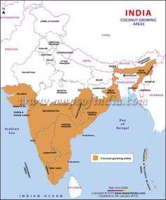 Coconut Growing States in India General Knowledge Book, Gernal Knowledge, Kashmir Map, Indian River Map, India World Map, Food Map, Geography Map, Asia Map, India Facts