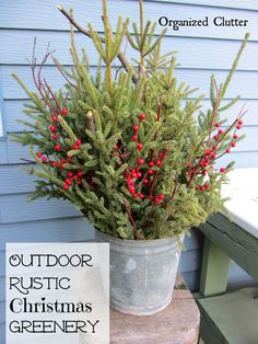 40 Rustic Outdoor Christmas Décor Ideas - Christmas decorations are marked by the beauty of traditional accents that you can add to your home. In this regard, rustic or country style decor looks absolutely stunning. You may have come across many ideas … Christmas Greenery, Christmas Porch, Winter Christmas, All Things Christmas, Winter Porch, Christmas Ideas, Christmas Lights, Cabin Christmas Decor, Country Christmas Crafts