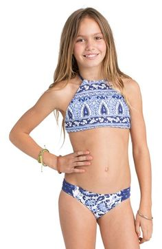 Billabong 'Penny Paisley' Two-Piece Halter Swimsuit (Little Girls & Big Girls)