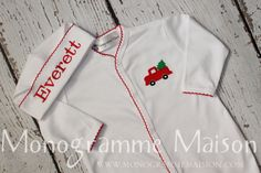 Baby boy Christmas outfit-Coming Home Outfit-Baby boy Christmas footed sleeper-Baby's first Christmas outfit- Christmas pictures-pima cotton by MonogrammeMaison on Etsy