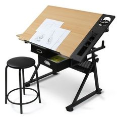 Wooden Drawing Desk With Stool Draw Table Drawer Office Work Crafting Architect