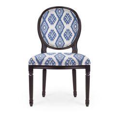Regine Louis XVI Side Chair - Black Finish - Blue Woven Ikat - Front View
