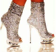 Silver Sock Type Shoe Boots
