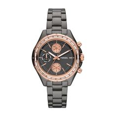 Fossil Dylan Chronograph Stainless Steel Watch – Smoke with Rose CH2825 | FOSSIL®