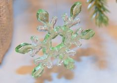 Fused Glass Snowflake Ornament Celadon Holiday Decoration #TEN36Designs