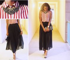 Love Couture Striped Top, Forever 21 Sheer Black Maxi, Aldo Tan Wedges, H&M Black & Gold Necklace, Thrifted Black Clutch