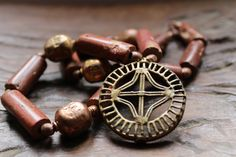 On HOLD........LOST WAX technique bronze star shaped amulet pendant. V.Old beads. copper/bronze, Bauxite and copper bicones. ethniques boho by Timbuktugallery on Etsy