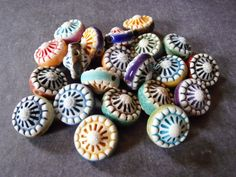 Porcelain double sided beads by Round Rabbit.