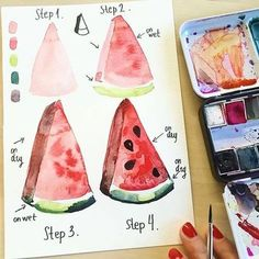 Learn how to paint a watermelon with watercolor by step-by-step watercolor tutorial. Tap here to view this tutorial and many more. Watercolor Beginner, Watercolor Paintings For Beginners, Step By Step Watercolor, Watercolour Tutorials, Watercolor Techniques, Painting Tutorials, Drawing Techniques, Watercolor Fruit, Easy Watercolor