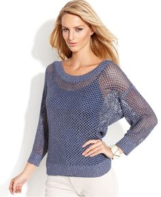 INC International Concepts Metallic Fishnet-Knit Sweater - Sweaters - Women - Macy's
