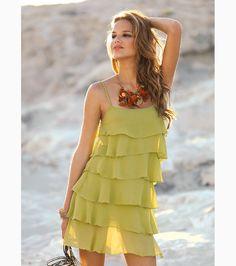 Vestido corto de fiesta mujer de tirantes volantes Moda Mujer V5 Venca