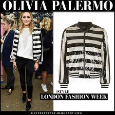 Olivia Palermo in stripe sequin black and white bomber jacket and black skinny jeans