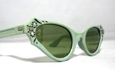Amazing Vintage Cat Eye Sunglasses. Atomic Avacado Mint Green with Rhinestones. $75.00, via Etsy.