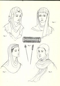 Anglo-Saxon (600 – 1154): Simple Veils, Head-tires, Combs, and Pin  During this time the head was always covered with no hair showing, although it was usually braided elaborately underneath the veil.  Veils- made of light-weight fabric like silk, cambric, or fine linen. They were usually rectangular lengths with a hole cut in the middle for putting the head through.  Head-tires- circlets of gold that could be worn by any Saxon of rank at this time. The circlets could be made of other ma...
