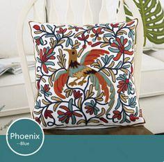 Comfortable Pillow Case Pattern Phoenix Blue Linen Pillow Cover Home Decorative Pillowcase Bedding Pillowcover 45*45cm