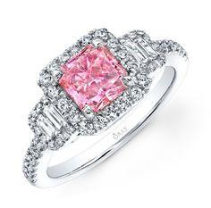 PRINCESS CUT PINK DIAMOND WITH EMERALD CUT DIAMONDS AND FULL HALO   http://www.orlydiamonds.com/collections-1/pink-diamonds/pink-diamond-with-double-halo-5089.html