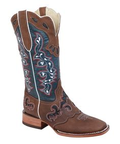 Look what I found on #zulily! Bonanza Boots Brown & Blue Embroidered Saddle Cowboy Boot by Bonanza Boots #zulilyfinds