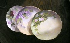 Scalloped Edge Floral Limoges Porcelain Hand Painted Bread Lot of 3  $40