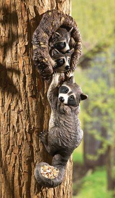Peeping Racoons Tree Decor and Bird Feeder ... I LOVE LOVE LOVE this ... sooooooooo cute <3 <3 <3