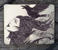 Breathtaking Moleskine Art by Gabriel Picolo. This is absolutely gorgeous!