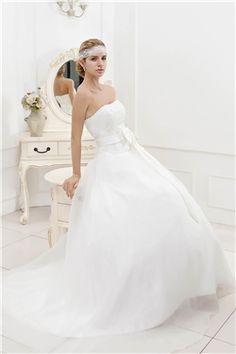 Plain Ball Gown Strapless Court Train Veronika Valentinovas Wedding Dress with Sashes