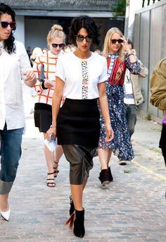 Fashion consultant Yasmin Sewell rocks a peplumed leather skirt.