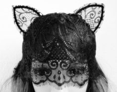 black white OR ivory vintage pattern lace cat ear veil by lune2011, $69.95
