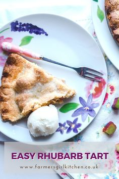 This Easy Rhubarb Tart recipe creates a really delicious dessert from simple ingredients. Make your own melt in the mouth shortcrust pastry or use ready-made all-butter pastry for an even quicker fix.  Fill the tart with a simple mixture of rhubarb, sugar, and cornflour and pop it in the oven.#rhubarb #easy #recipe #tart #pie #dessert Rhubarb Tart, Rhubarb Desserts, Rhubarb Recipes, Tart Recipes, Easy Desserts, Delicious Desserts, Dessert Spoons, Pie Dessert, Dessert Recipes