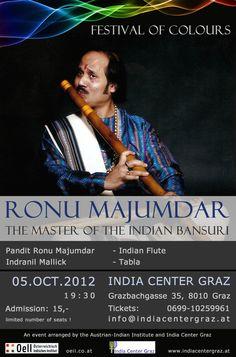 OeII Event: Ronu Majumdar - The Master of Indian Flute Bansuri ► Oct 2012 - Graz Art Music, Flute, Concerts, Bamboo, Colours, Events, Indian, Graz, Flute Instrument