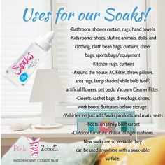 "Because I know a lot of you are curious about Pink Zebra Soaks! Here are some uses for it! I use it SO MUCH around the house! I use it for my AC Filter!, for my rugs, Vacuum Cleaner Filter, shower curtains! Oh my! The possibilities are ENDLESS! We even also have ""Just Add Soaks"" Jewelry! You can check them out here!: www.pinkzebrahome.com/SprinklesLoveByLiz"